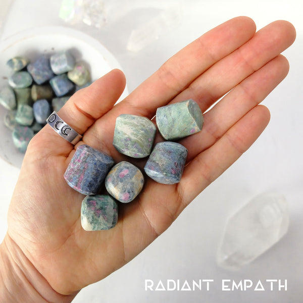 tumbled ruby zoisite crystal