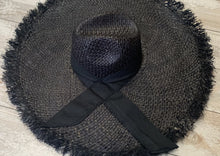 Load image into Gallery viewer, Black Large Fringe Hat with Bow
