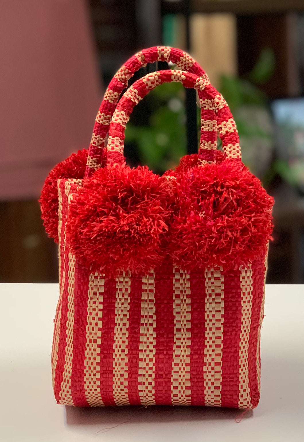 Red Stripe Pom Pom Mini