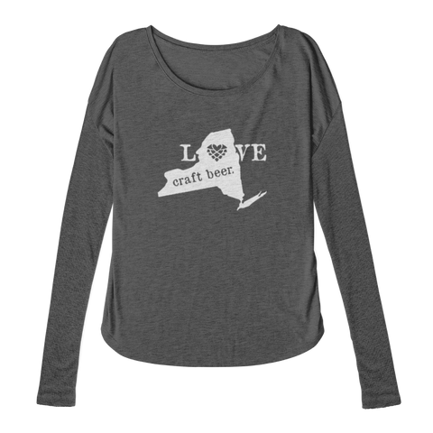Love NYS Craft Beer | Ladies Long Sleeve - Charcoal (Pre-Order)