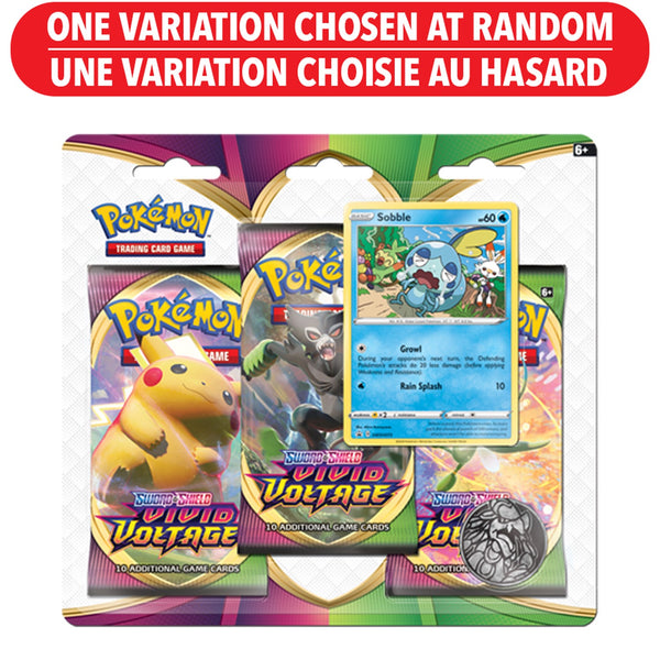 POKEMON SWORD AND SHIELD - VIVID VOLTAGE 3 BOOSTER PACKS, COIN AND SOBBLE