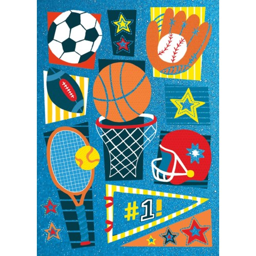 SPORTS PATTERN BIRTHDAY CARD