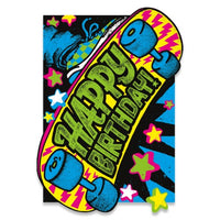 NEON SKATEBOARD BIRTHDAY CARD