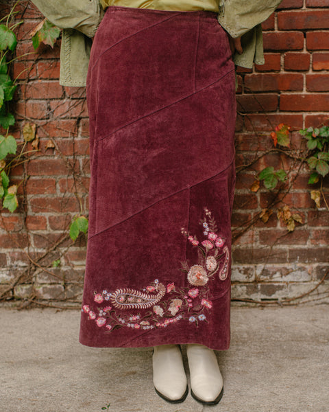 Suede Embroidered Maxi Skirt