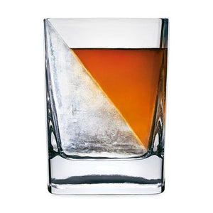 The Corkcicle Whiskey Wedge. A glass is shown with half ice and whiskey divided diagonally.