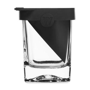 The Corkcicle Whiskey Wedge black rubber in a whiskey glass.