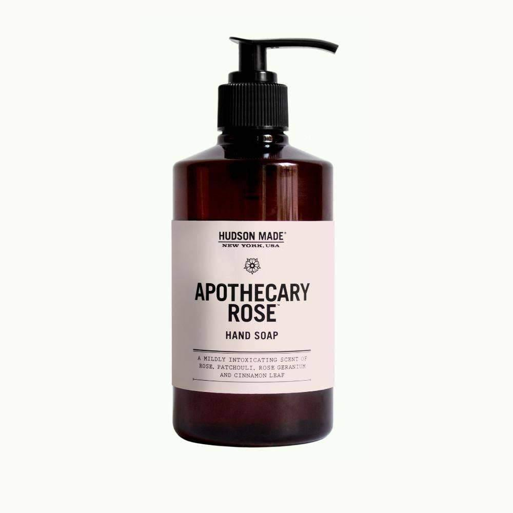 A brown bottle with black pump and tan label reads Hudson Made Apothecary Rose Liquid Hand Soap