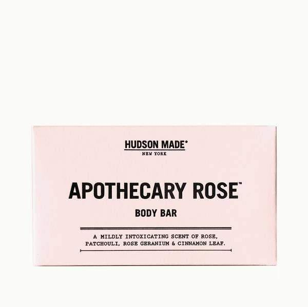 The rectangular pink packaging of the Hudson Made Apothecary Rose Bar Soap