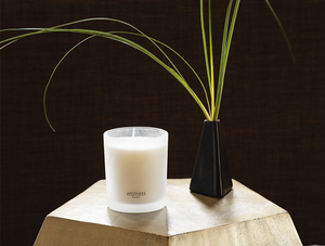Apotheke white vetiver signature candle with matte candle holder  on a marble shape with a black vase with green plants in it and a brown background.