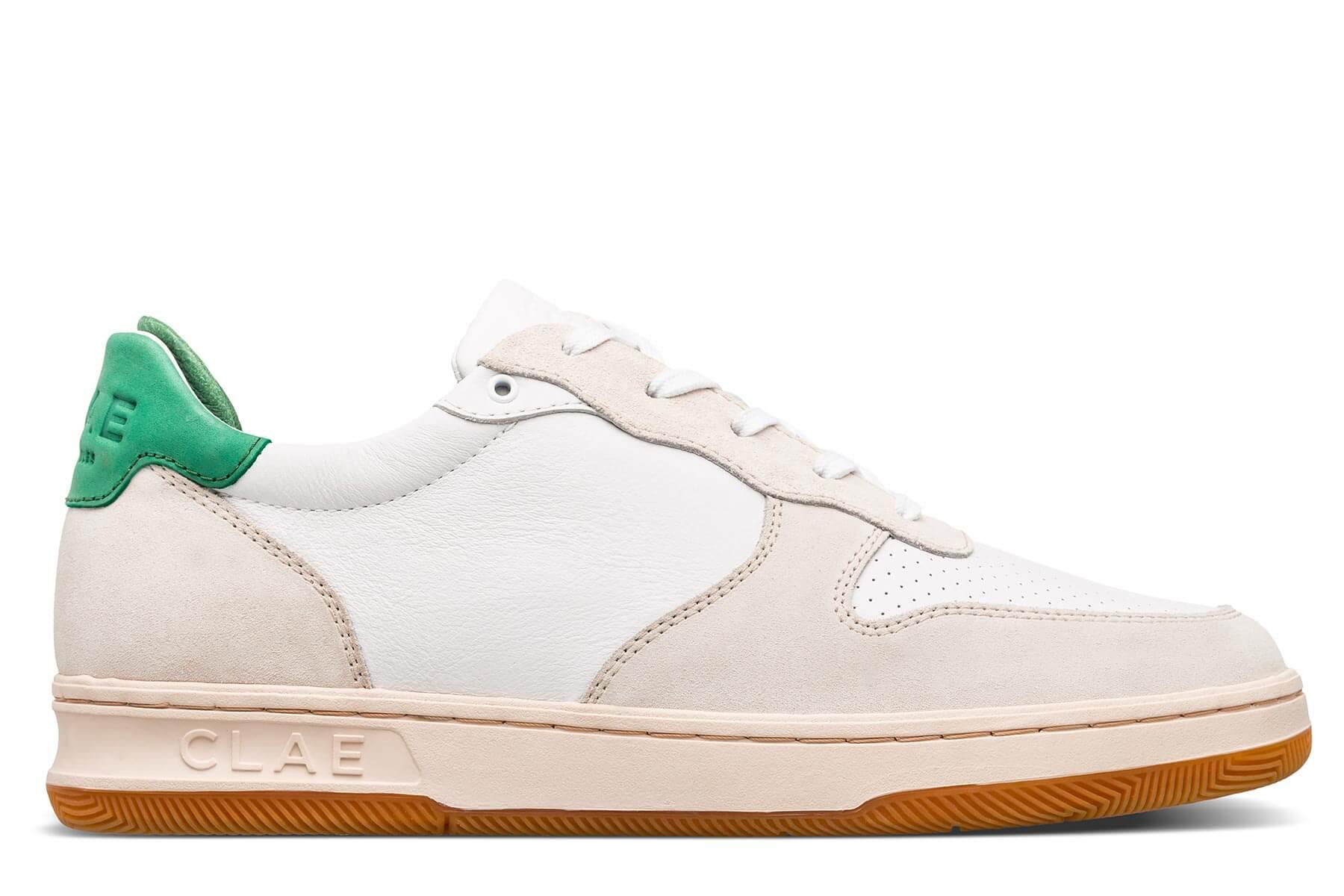 Clae Malone White Leather Smoke Comfrey Green