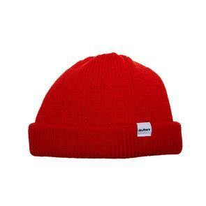 Druthers Beanie, Merino Wool Dockworker Hat - Red