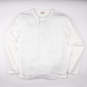 The Freenote Cloth 13 Ounce Henley Long Sleeve Shirt in White.