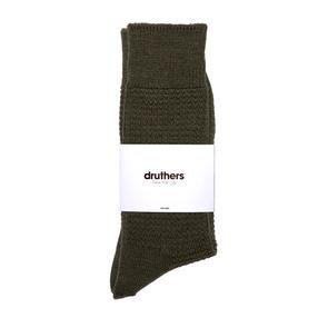 Druthers Merino Wool Waffle Sock - Olive