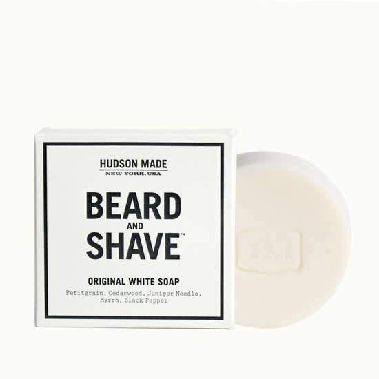 Hudson Made Original White Beard & Shave Soap with black and white box packaging with logo and engraved HM on the cream.