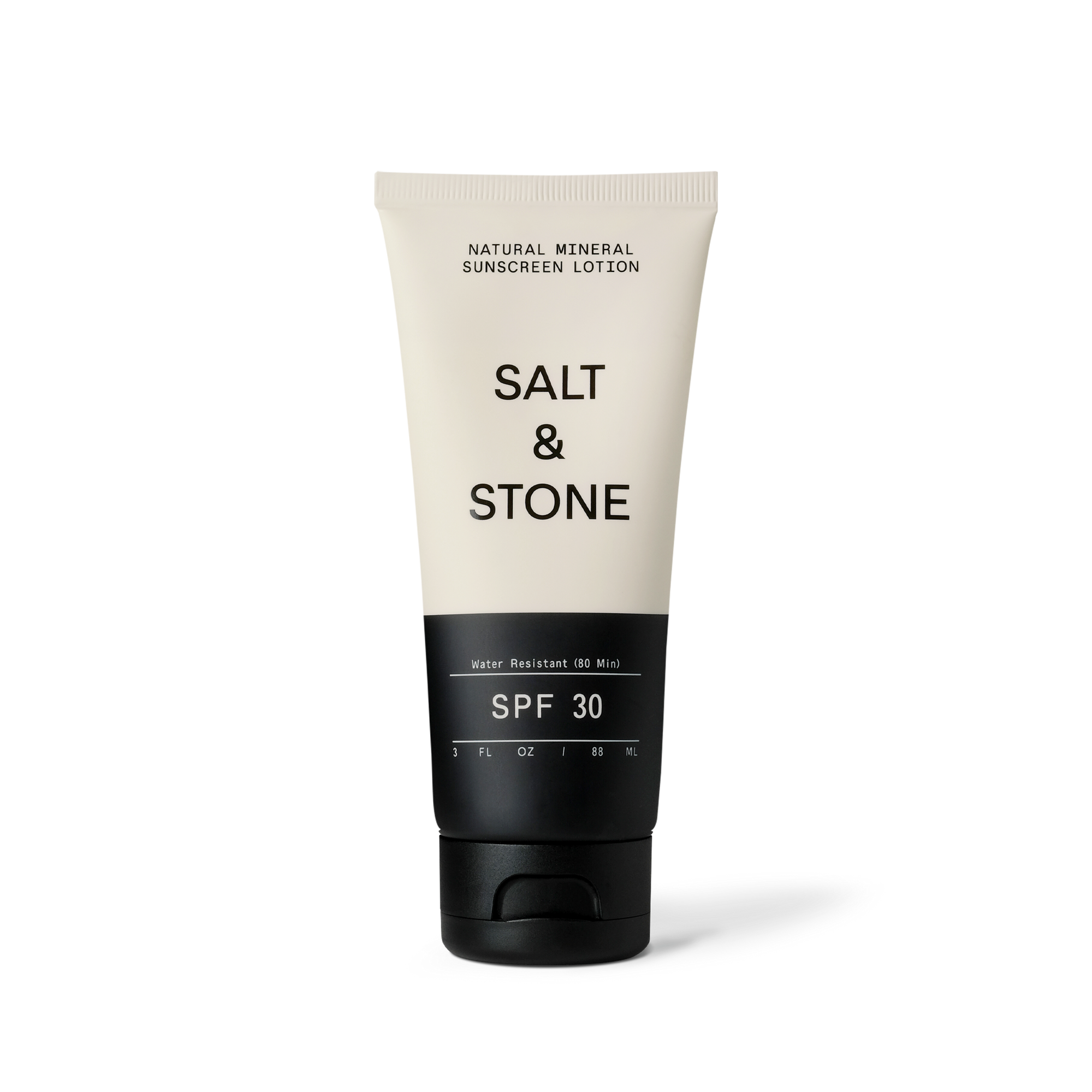 Salt & Stone sunscreen with half of the bottle white with black font and the lower half down to the cap is in black with white font.