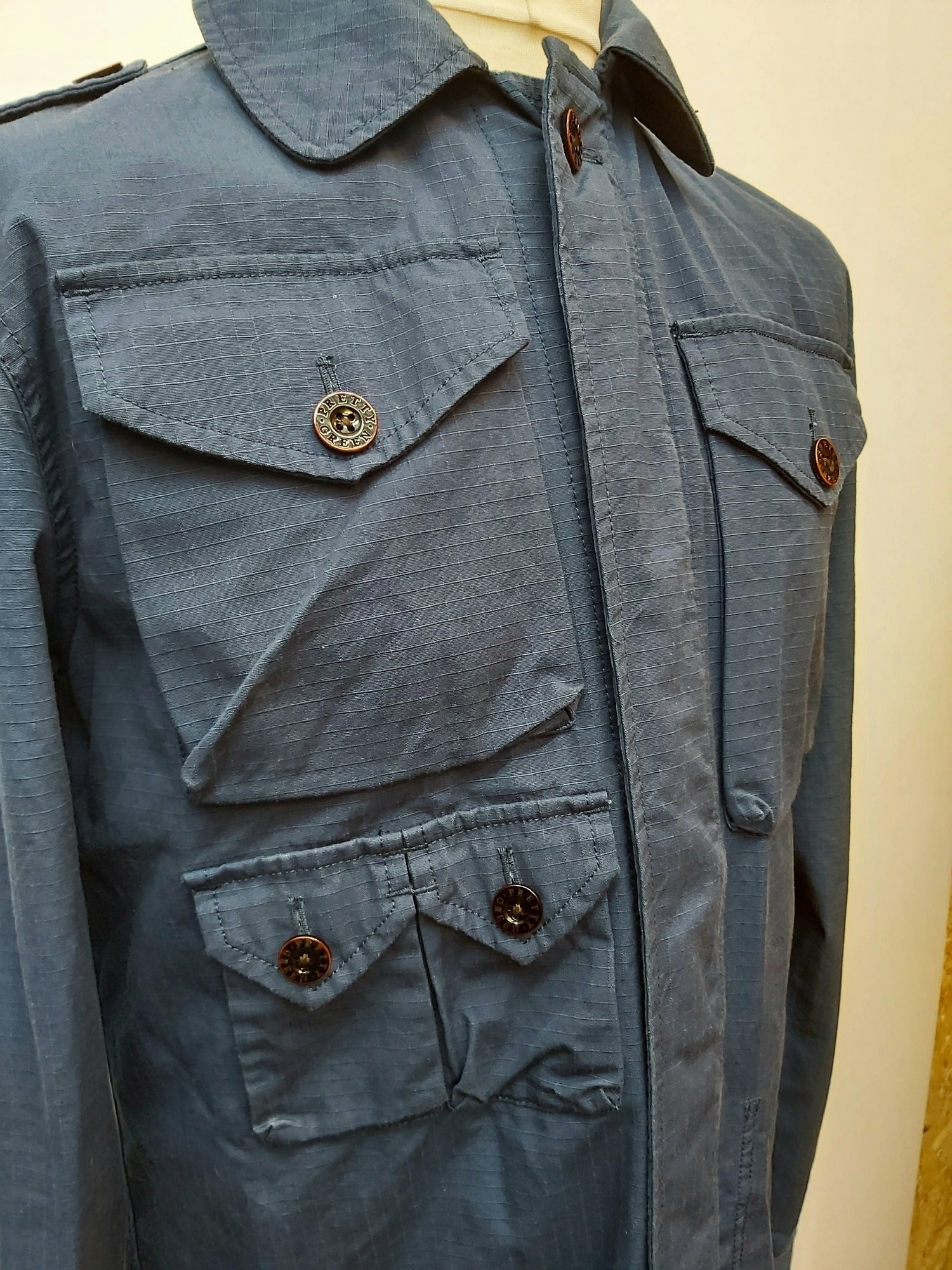 Mens Pretty Green Cotton Ribstop M65 Jacket - Size Large - urban village vintage