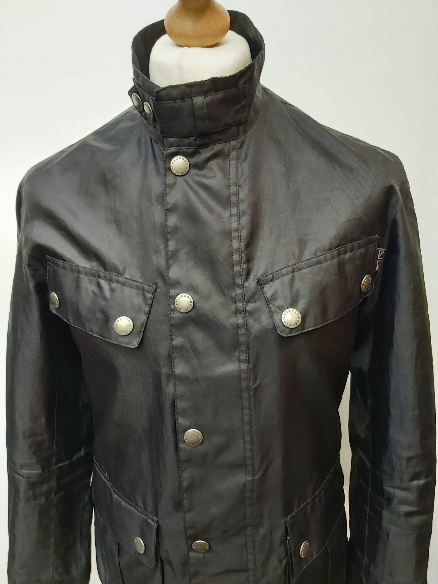 Men's Black Lightweight Barbour International Jacket - Size Small - urban village vintage