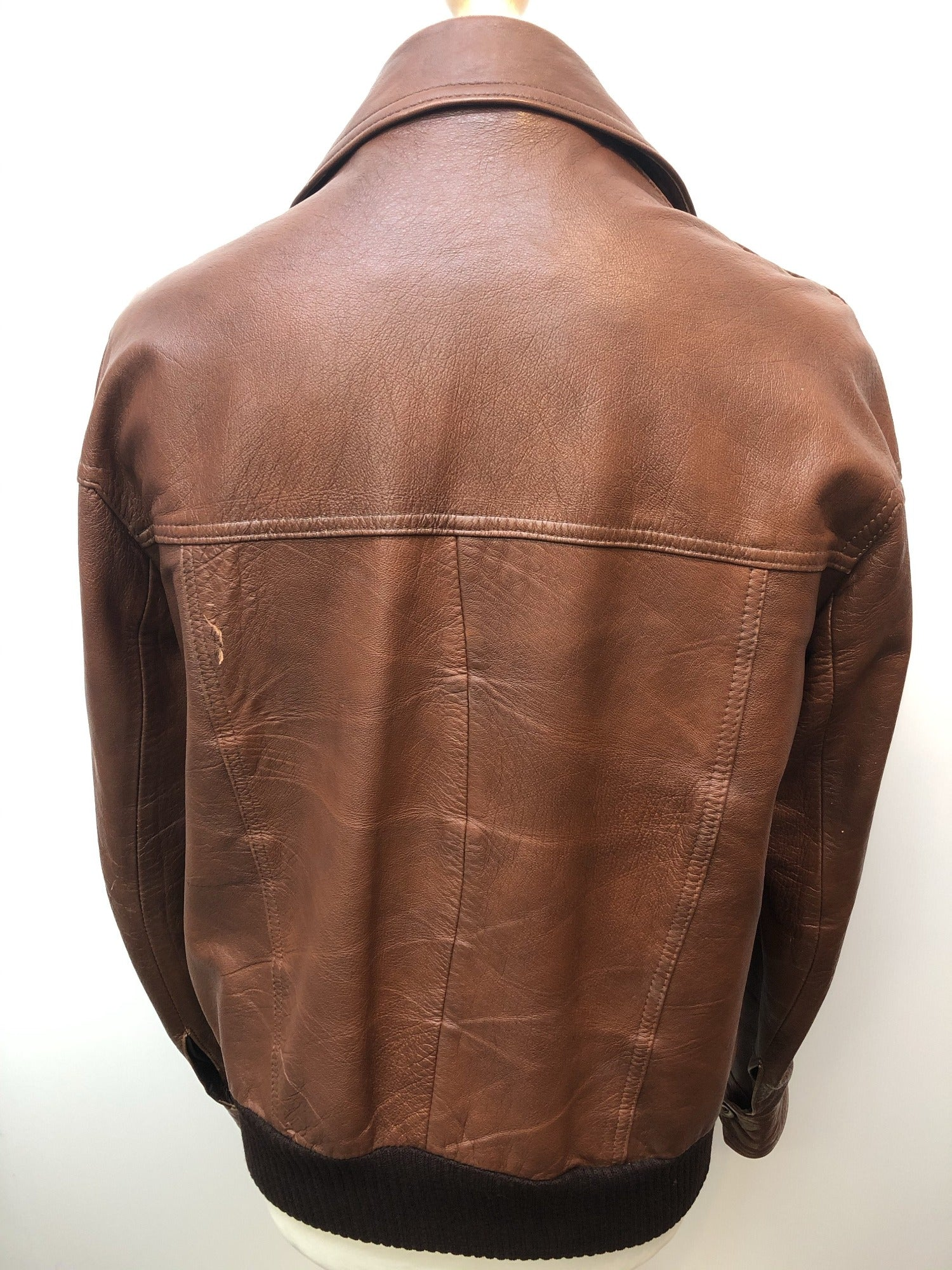 Mens Vintage Windsor Leatherwear Leather Jacket Brown - Size L - Urban Village Vintage
