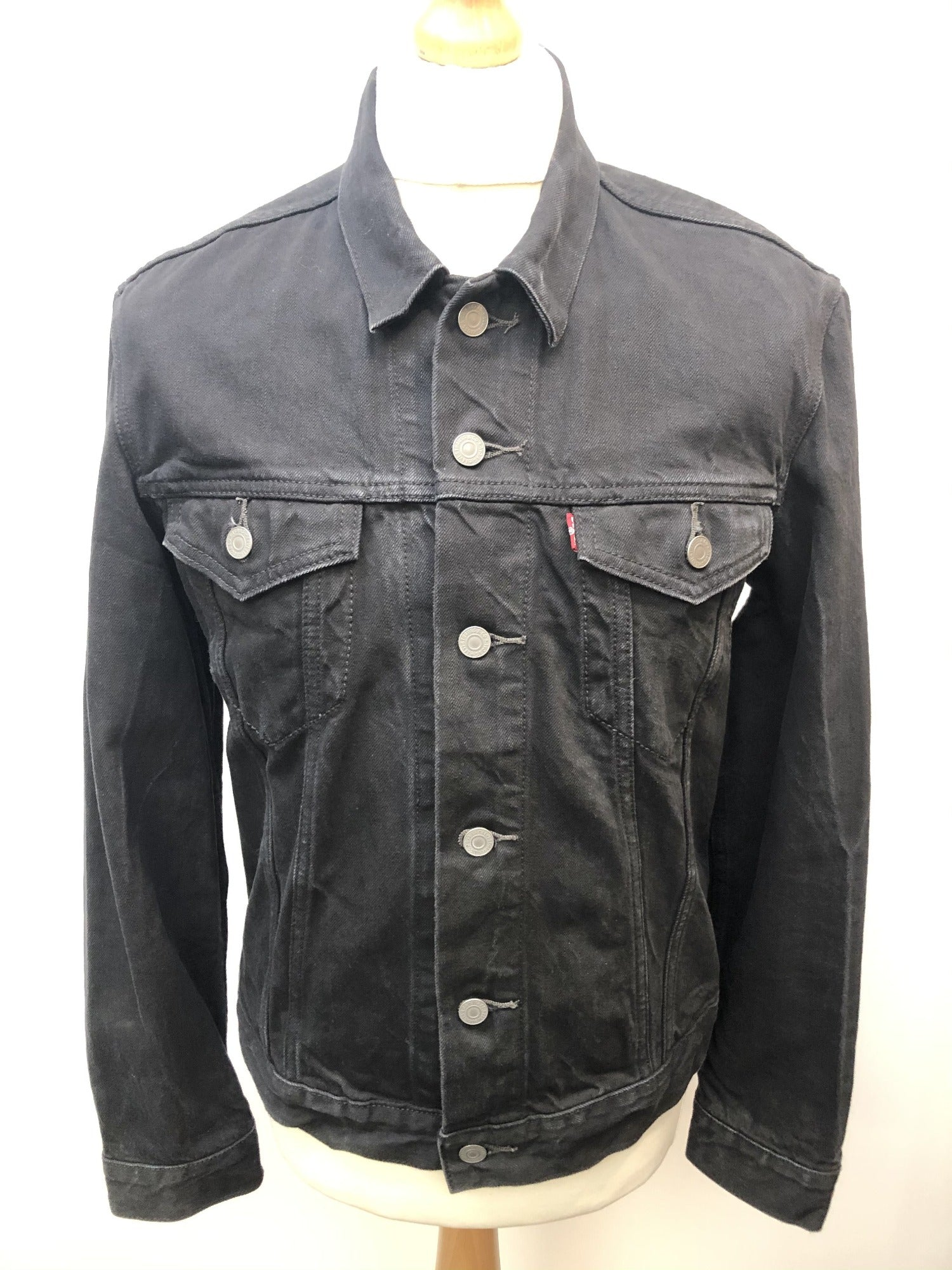 Mens Levis Denim Jacket - Black - Size L - Urban Village Vintage Denim