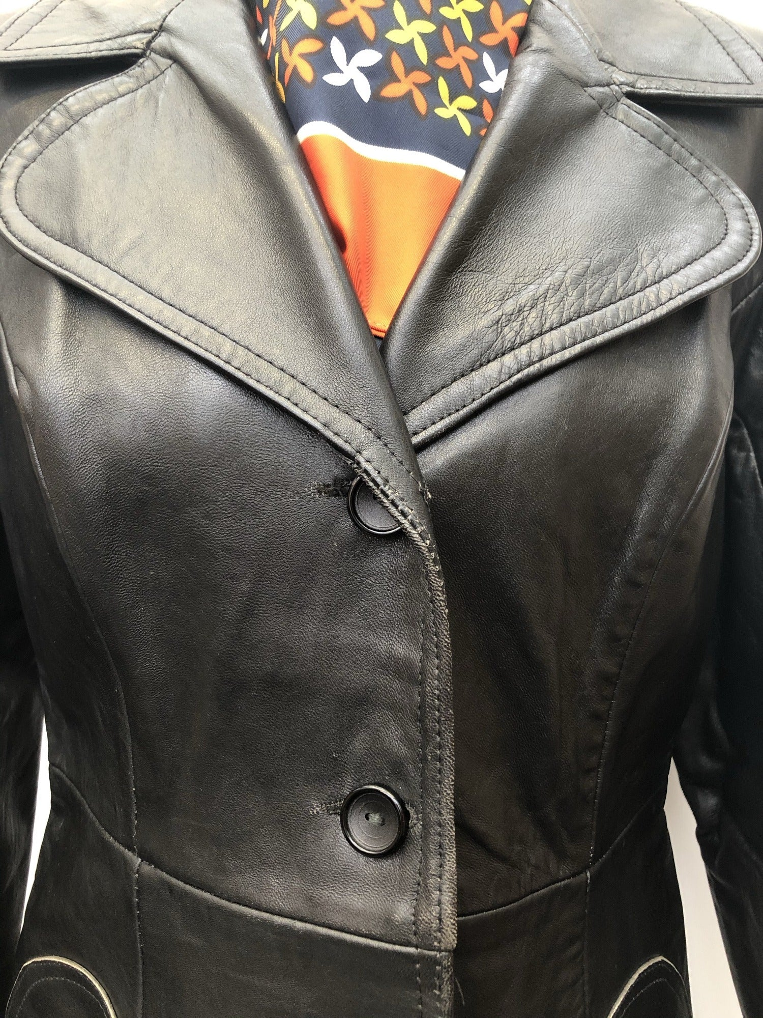 Womens Vintage 1970s Black Leather Jacket Suede Centre Swear & Wells Size 12 long length 70s circular pockets collared design button front - Urban Village Vintage