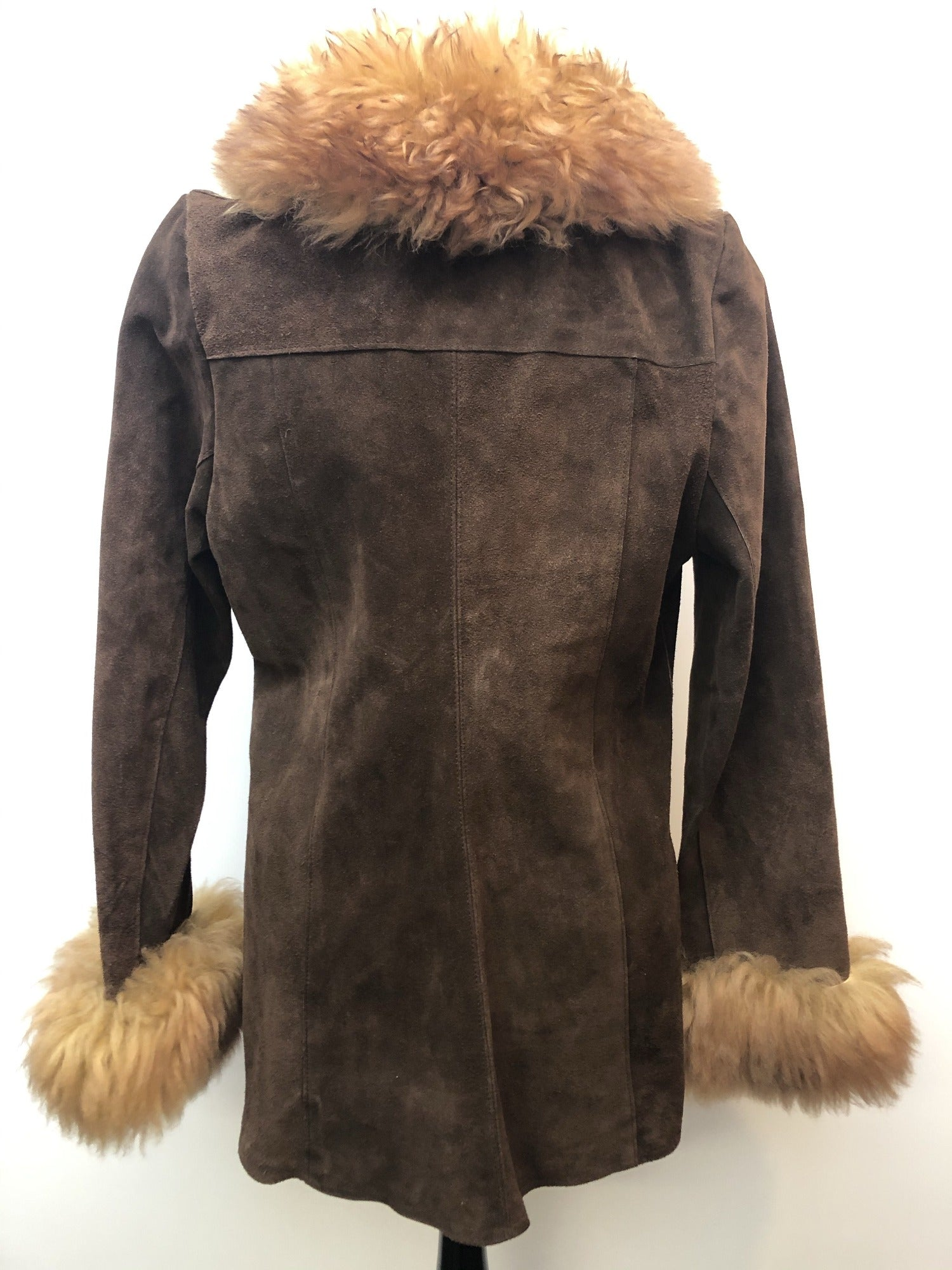 womens  vintage  Suede  Sheepskin  coat  brown  70s  1970s  14 urban village vintage