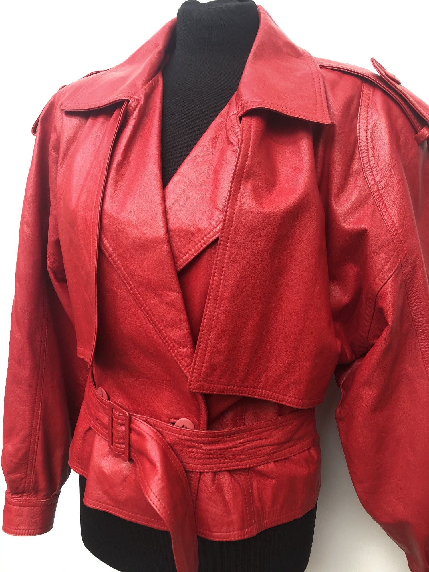 womens  vintage  urban village  shoulder pads  Red  puff sleeve  Neto  leather jacket  Leather  jacket  clothing  80s  1980s  10