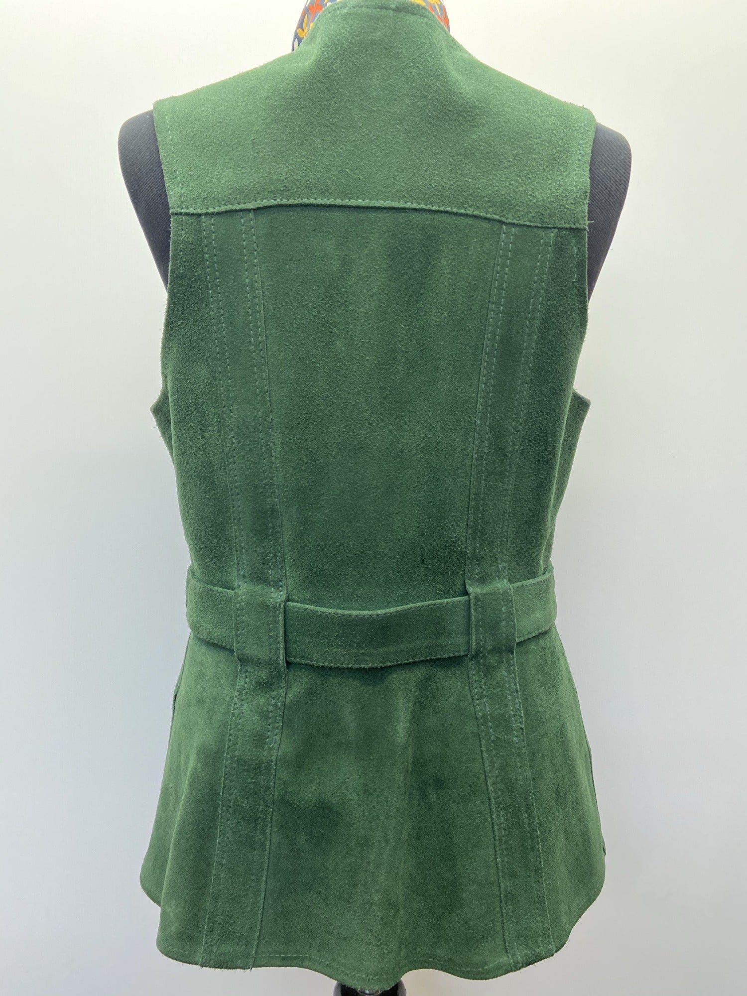 vintage 60s 1960s 70s 1970s mod hippie boho gogo psych green suede waistcoat tunic vest jacket top belt buckle womens clothing urban village