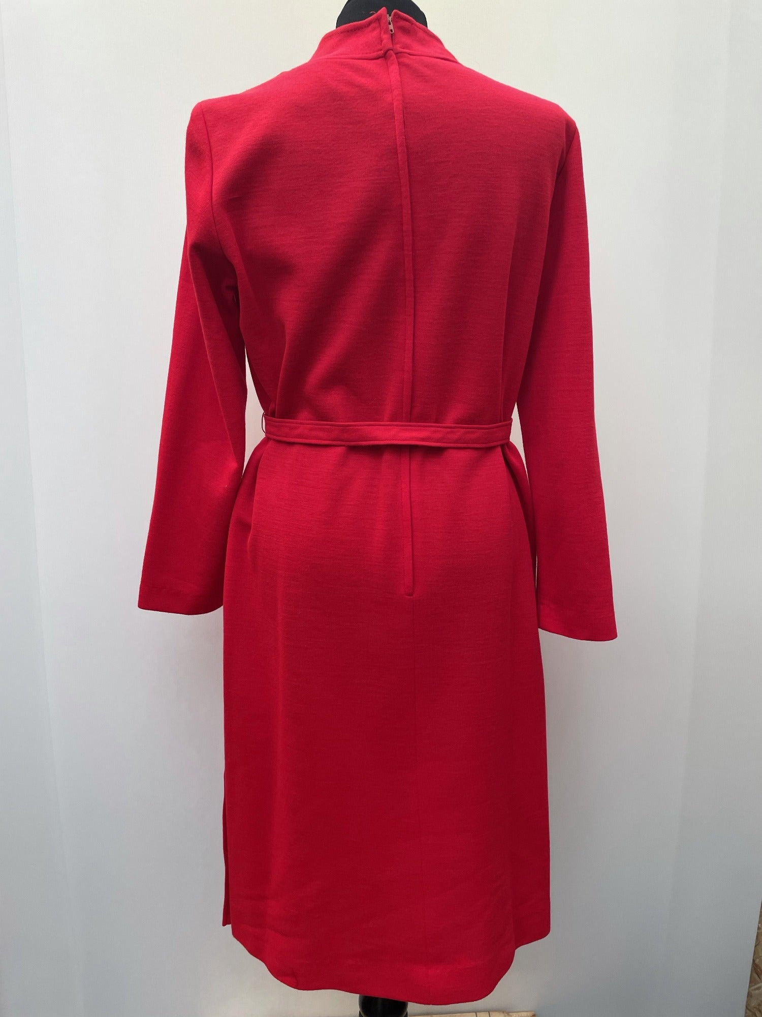 zip back  zip  womens  waist belt  vintage  Urban Village Vintage  urban village  retro  Red  polyester  MOD  maxi dress  long sleeve  long length  long dress  long  evening dress  evening  decorative buttons  crew neck  Berkertex  Belted waist  belted dress  belted  belt  acrilyc  60s  1960s  16  14/16  14