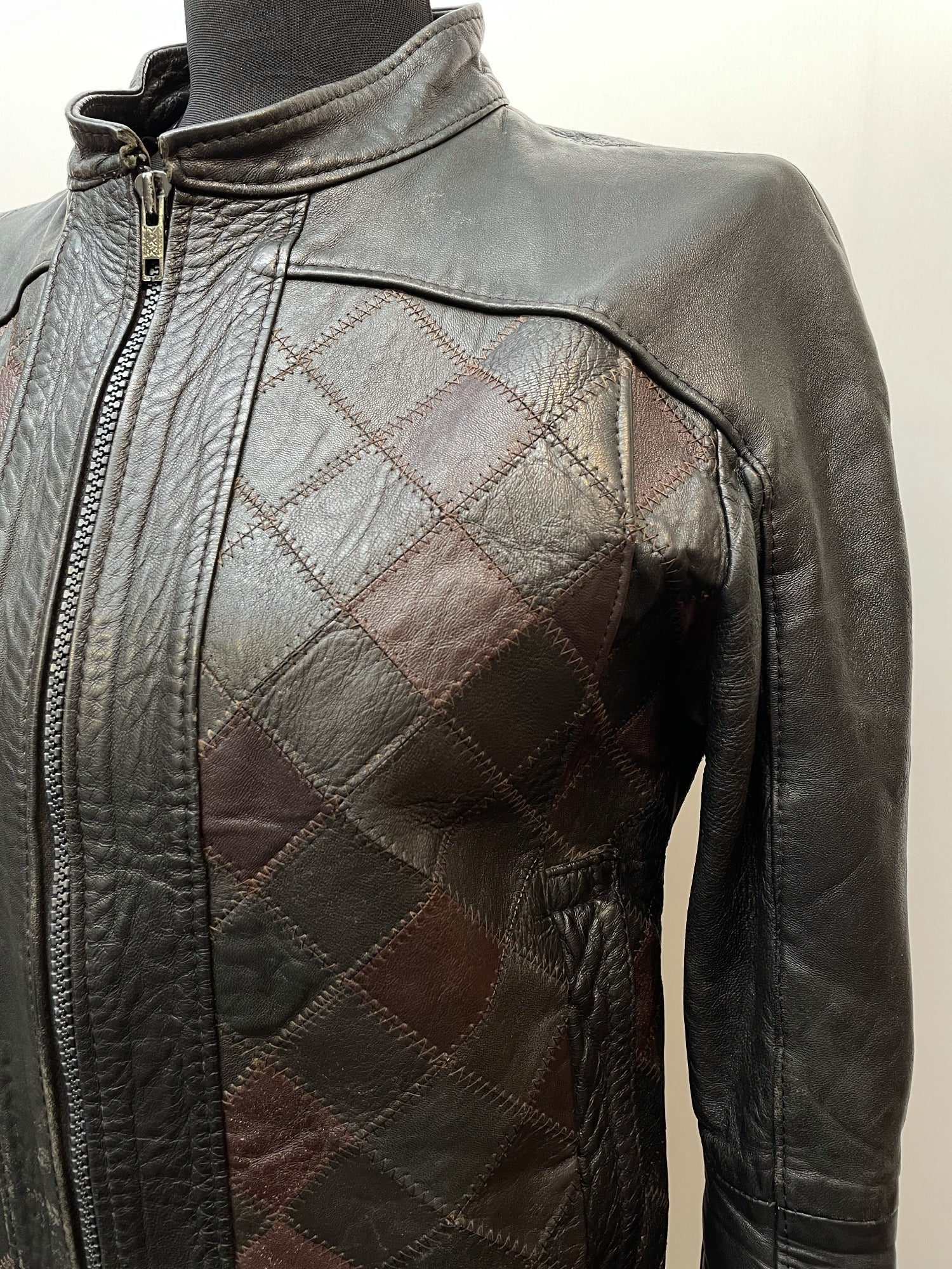 womens jacket  womens coat  womens  vintage  Urban Village Vintage  patterned  patchwork  Leather Jacket  Leather Coat  Leather  Jacket  cropped  8-10  8  70s  1970s