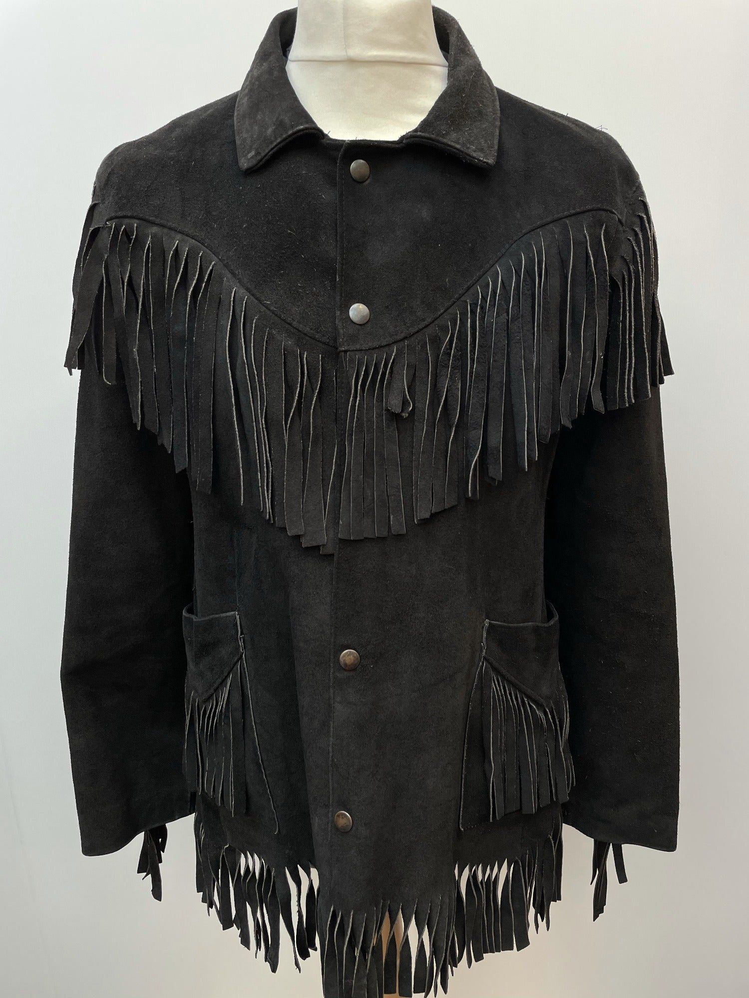 western  vintage  Urban Village Vintage  tasselled  tassel  Suede Jacket  Suede  S  press stud fastening  mens  Jacket  fringed  fringe  Cowboy Shirt  button down  black velvet collar  Black Jacket  black  70s  70  1970s