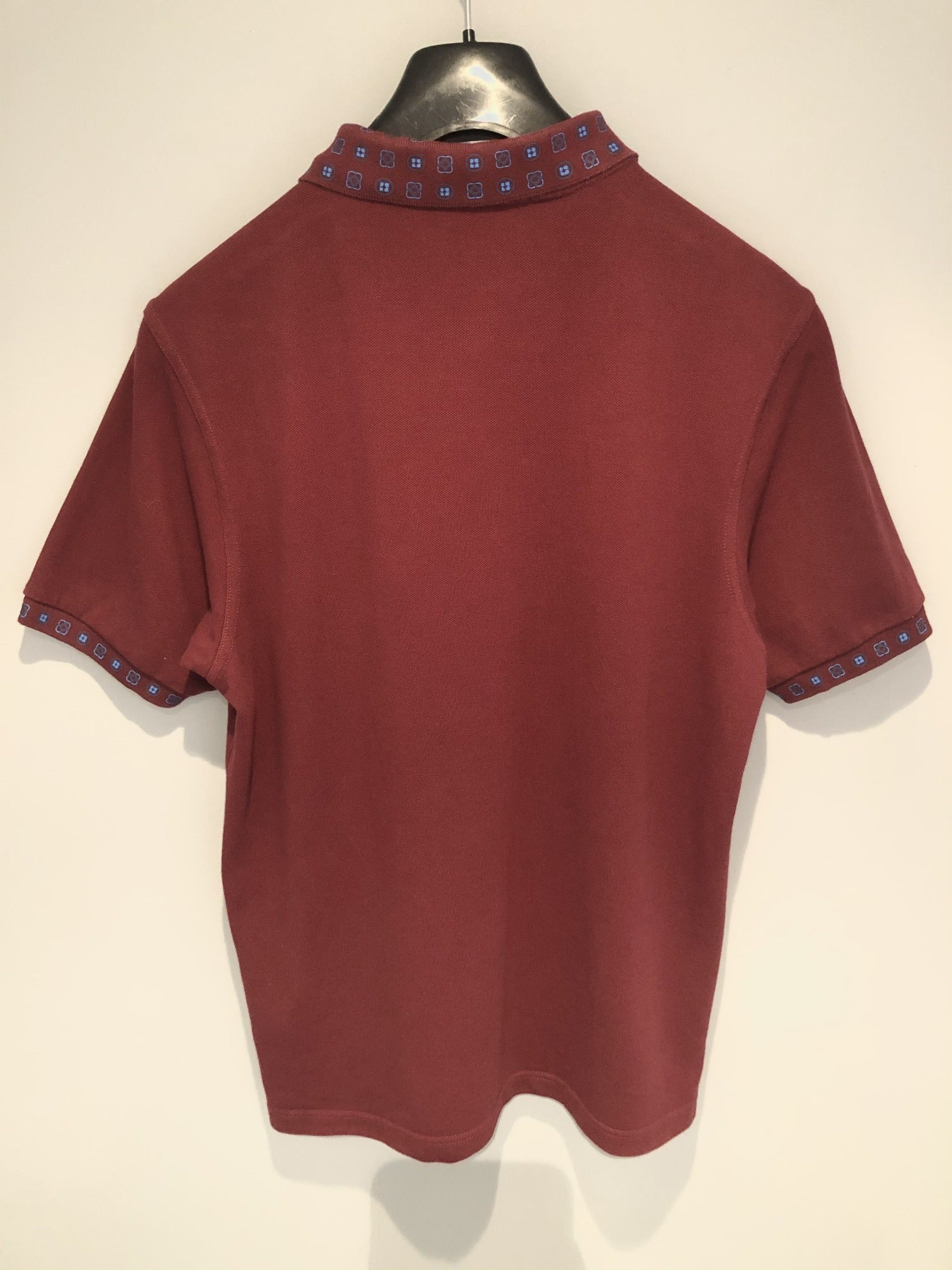 Claret and Blue Patterned Fred Perry Slim Fit Polo Top - Size M - MOD Clothing Urban Village Vintage