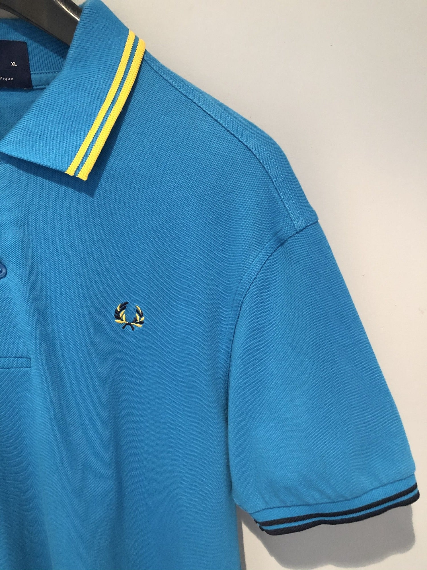 Fred Perry 100% Cotton Pique Polo Top Blue - Size XL - MOD Clothing - Urban Village Clothing