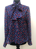 1970s Pussy Bow Blouse with Spot Print - Blue - Size 16