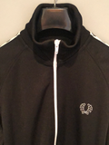 Fred Perry Sportswear Tracksuit Top Black with Logo Strip on Arms - Size M - MOD Clothing Sportswear - Urban Village Clothing