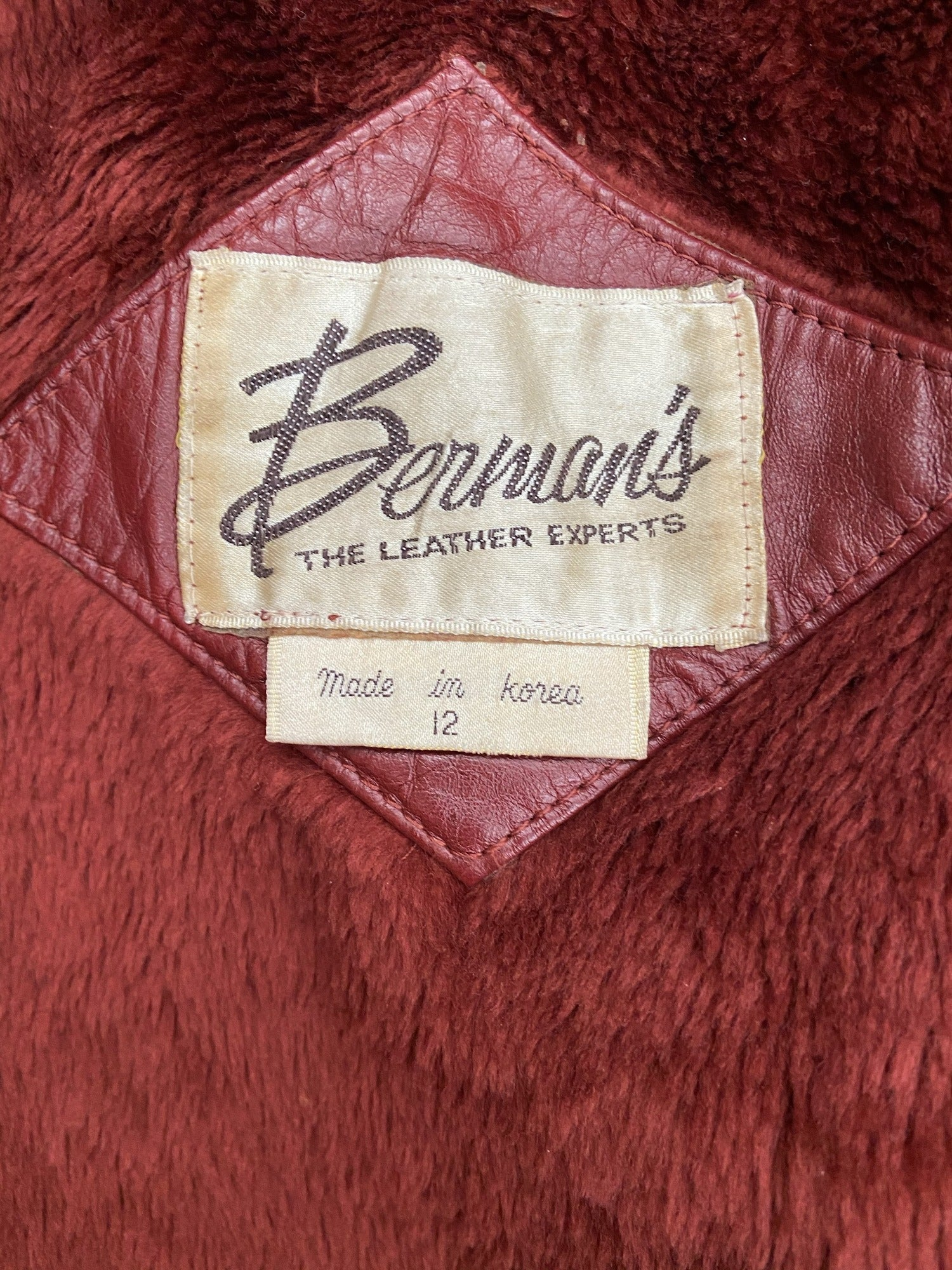 womens  vintage  village  urban  retro  red  leather  Jacket  fur lining  chevron  burgundy  bomber  70s  1970s