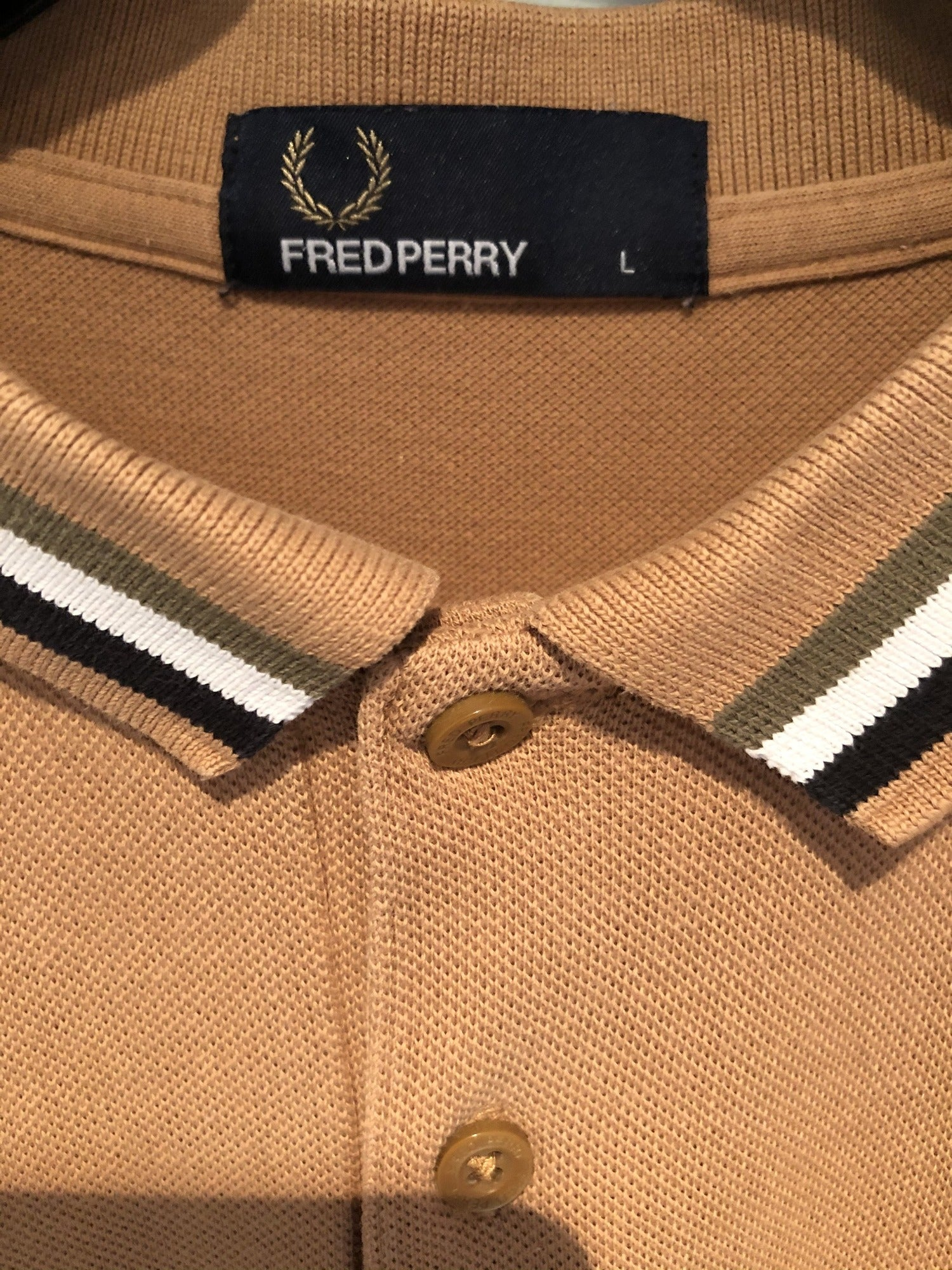 Fred Perry Polo Top Beige / Camel - Size L - Urban Village Vintage