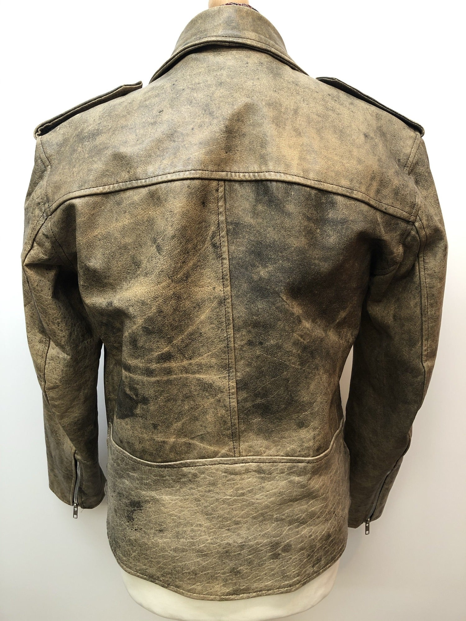 vintage  Stone  Motorcycle  mens  L  Jacket  brown leather  brown  Black Leather  Biker Jacket  Biker Urban Village Vintage