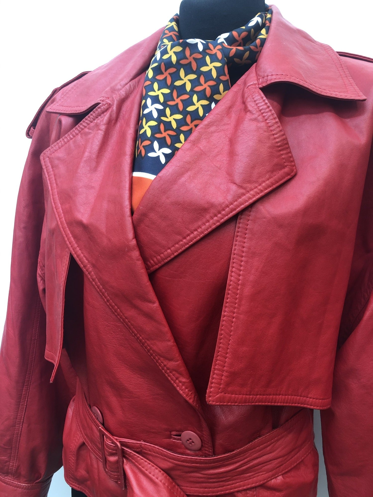 Neto  Leather  Red  womens  vintage  urban village  shoulder pads  puff sleeve  leather jacket  leather  jacket  clothing  80s  1980s  10 Urban Village Vintage