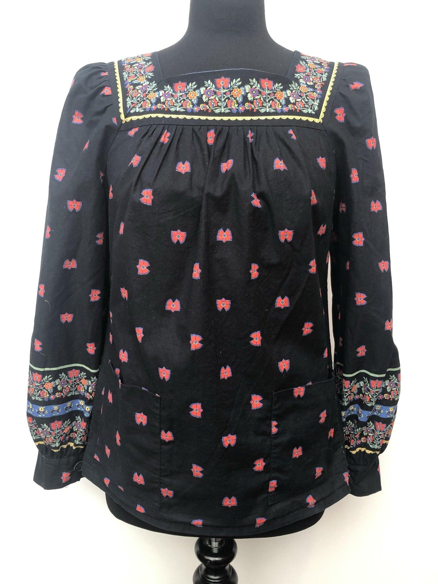 womens  vintage  tunic top  tunic  tops  square neck  multi  mod  Miss Miloty  floral print  floral  black  60s  1960s  10 Urban Village Vintage