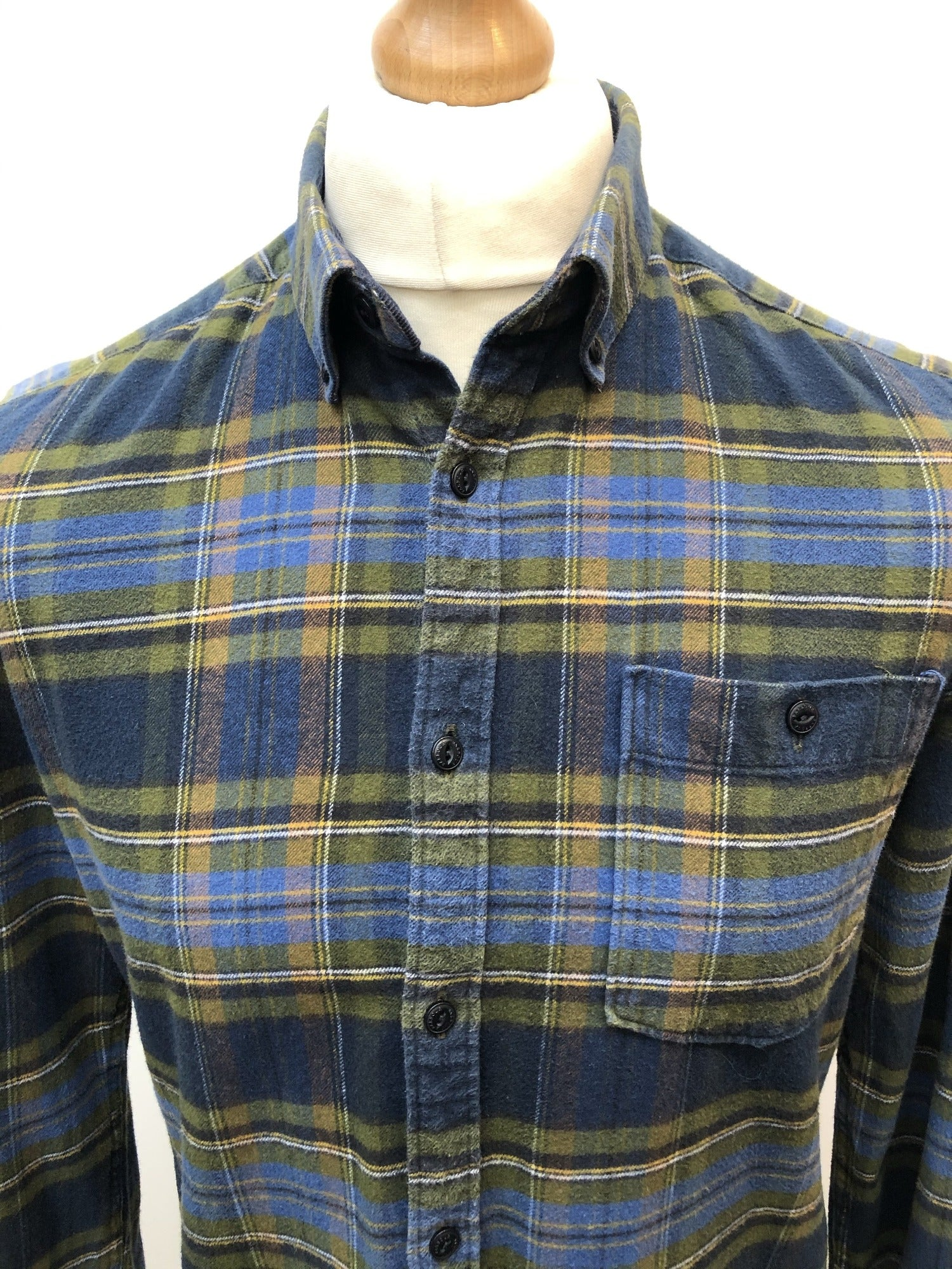 Mens Barbour Beacon Brand Blue and Green Check Shirt - Size M Slim Fit - Urban Village Vintage
