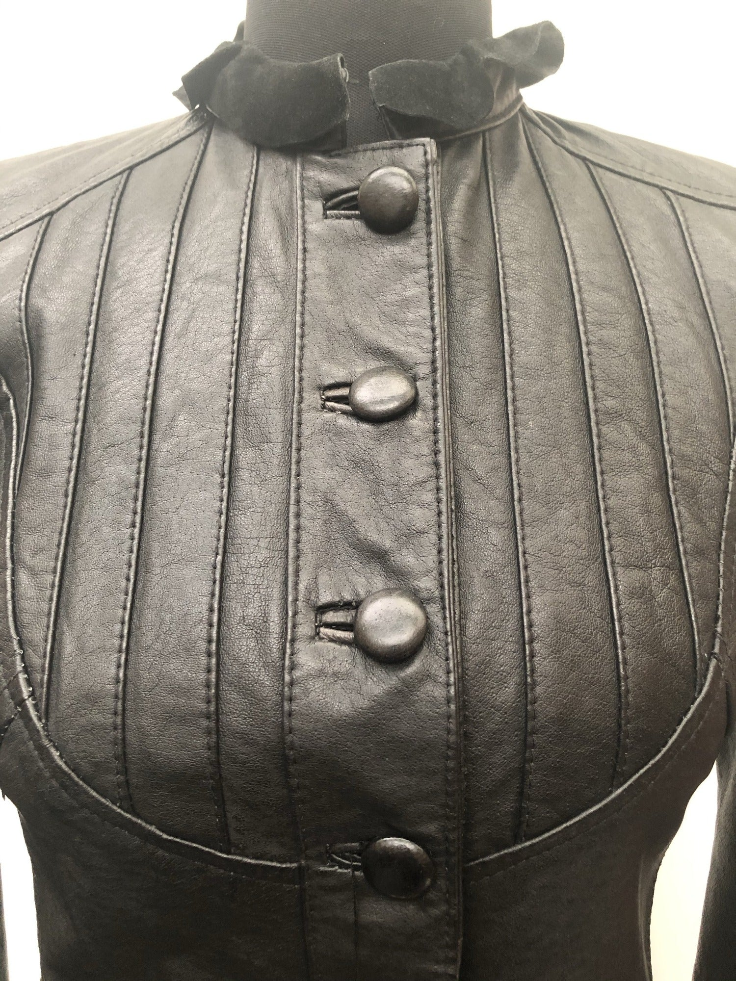 womens  Victorian style  Victorian  Leather Jacket  Leather detailing  Leather  Jacket  frill detail  fitted  Black Leather  Black  8 Urban Village Vintage