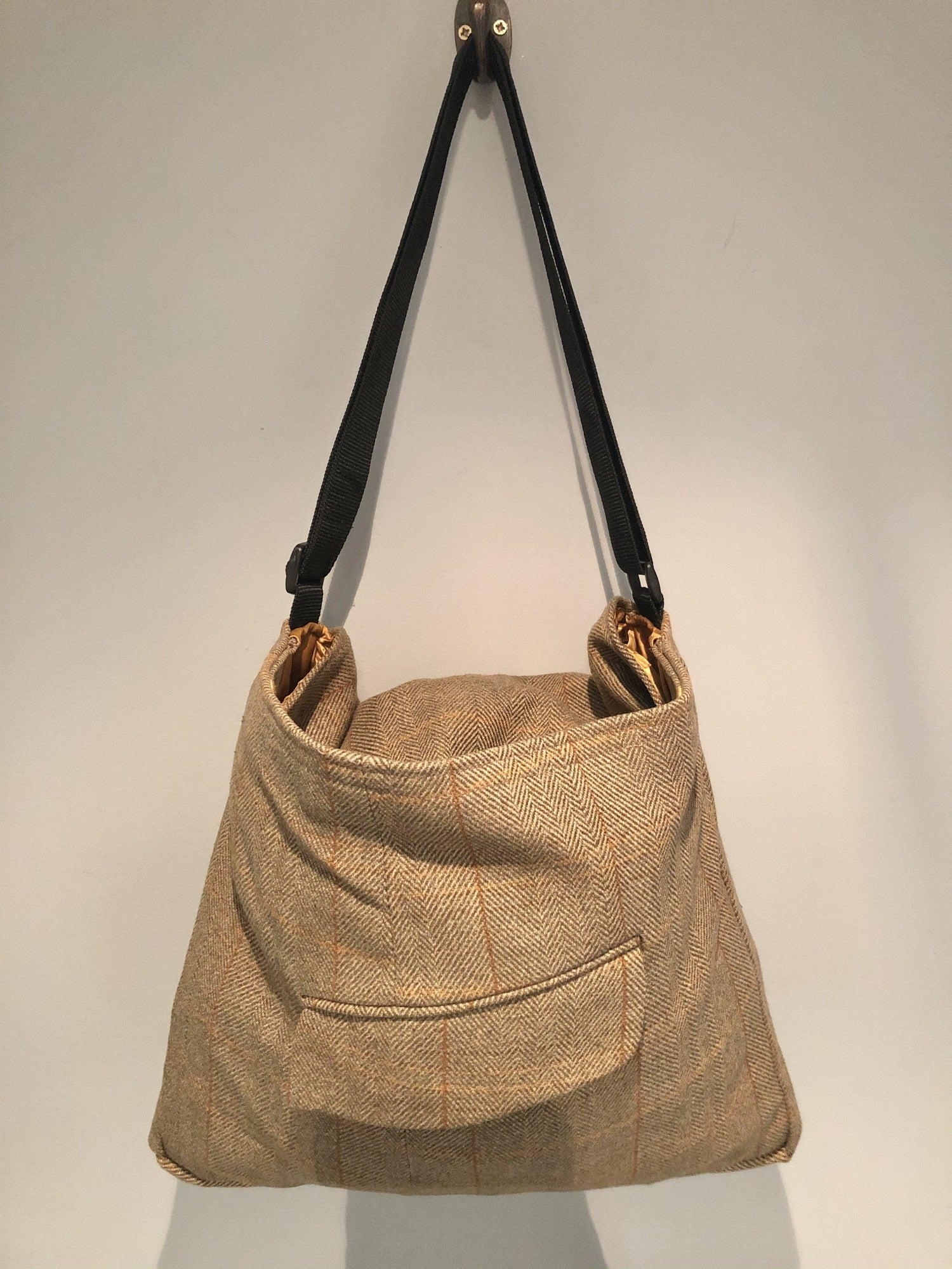 One Off Handmade Bag Made From Original Vintage Tweed Tailored by Boyd of England Jacket - Brown - Urban Village Vintage
