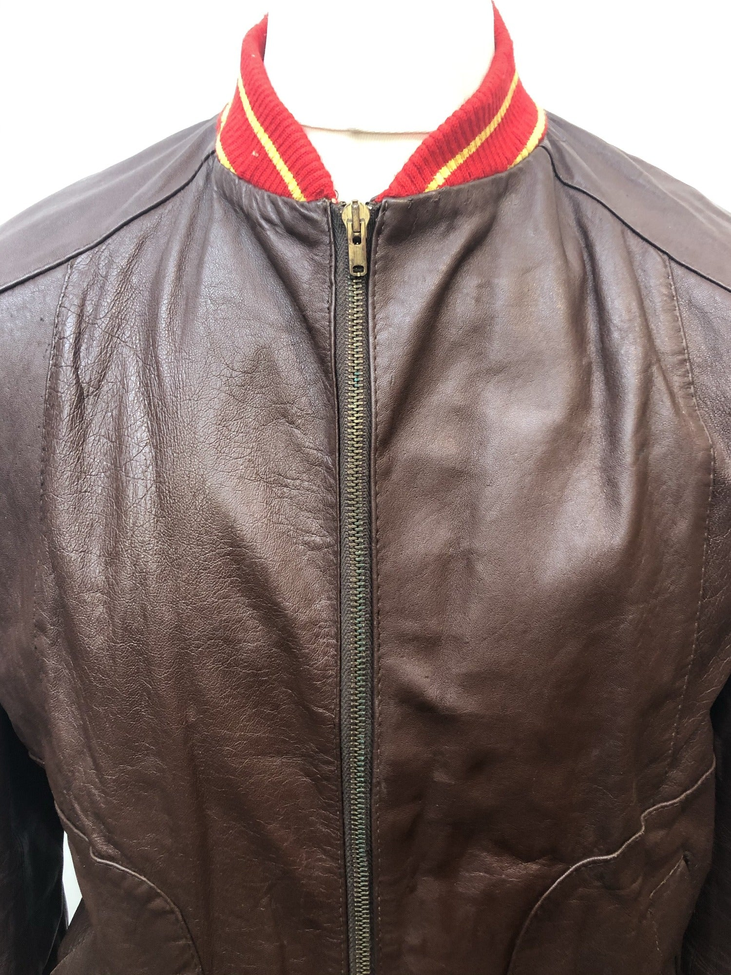 vintage  village  urban  Mens Bomber jacket  mens  leather  Jacket  Irvine Sellars  brown leather  brown  bomber jacket  bomber  70s  1970s