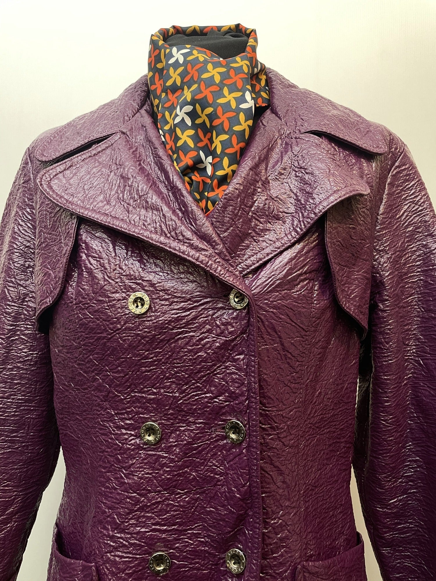 womens jacket  womens coat  womens  Vinyl PVC  vintage  Urban Village Vintage  purple  Leather  Jacket  double breasted coat  double breasted  decorative buttons  70s  60s  3/4  1970s  1960s  12