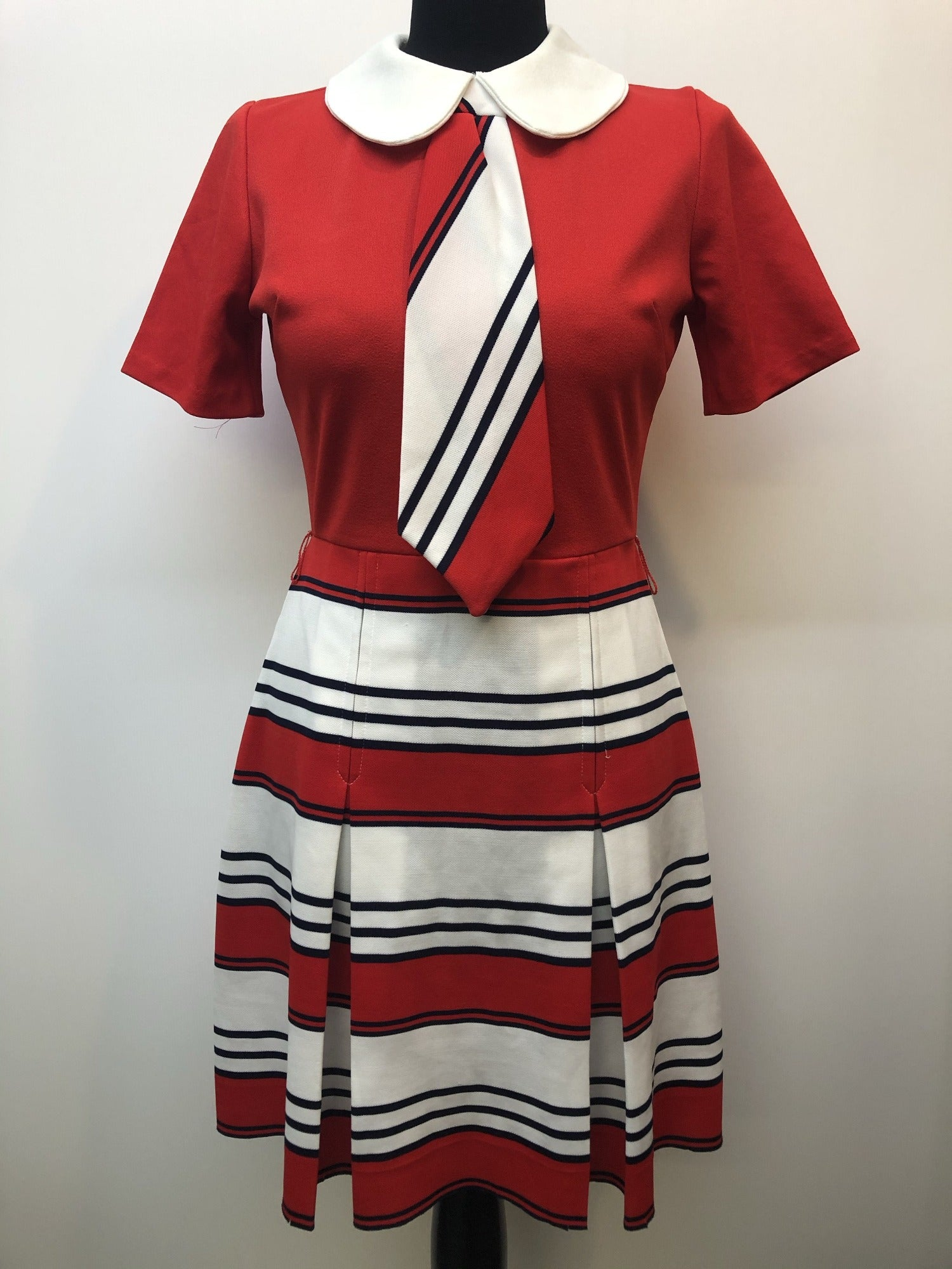 womens  white  vintage  tie neck  retro  Red  Navy stripe  MOD  mini dress  dress  collared dress  collar  60s  1960s  10 urban village vintage