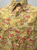 Yellow  xl  vintage  Urban Village Vintage  urban village  urban  retro  press stud fastening  patterned  patterened  mens  hippy  hippie  floral shirt  floral  decorative buttons  Cotton  collar  bright  70s  70  1970s