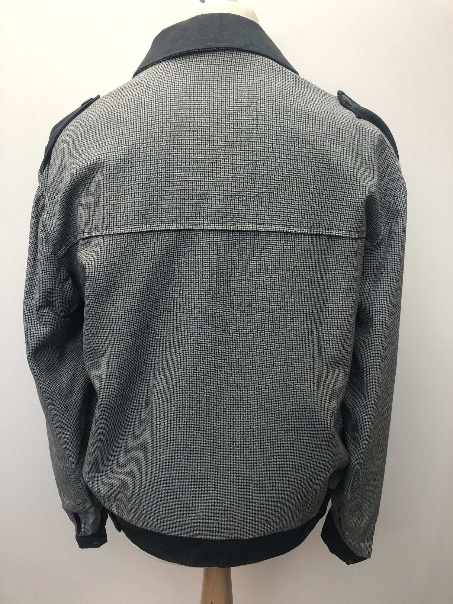 vintage  two tone  rockabilly  NOS  new old stock  mens  L  Jacket  Grey  gabardine  denim  check  50s  1950s urban village vintage