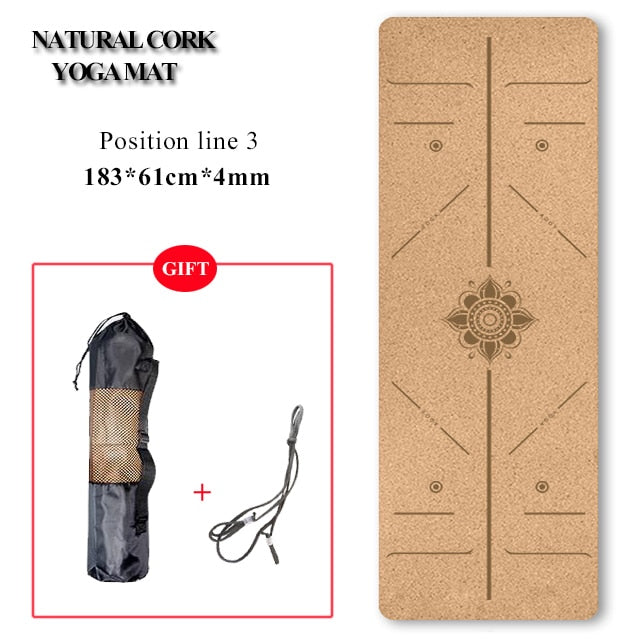 Natural Cork Yoga Mat and Bricks - 72 *24 inch, 4mm Height