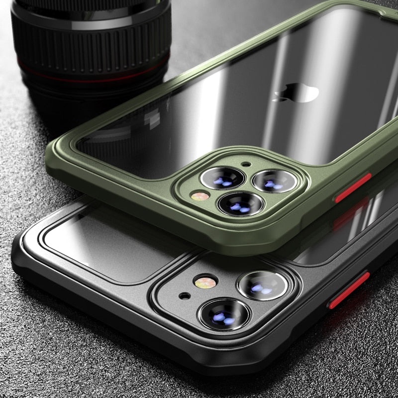 Military Shockproof Armour - Silicone Frame Clear Acrylic Case for iPhones