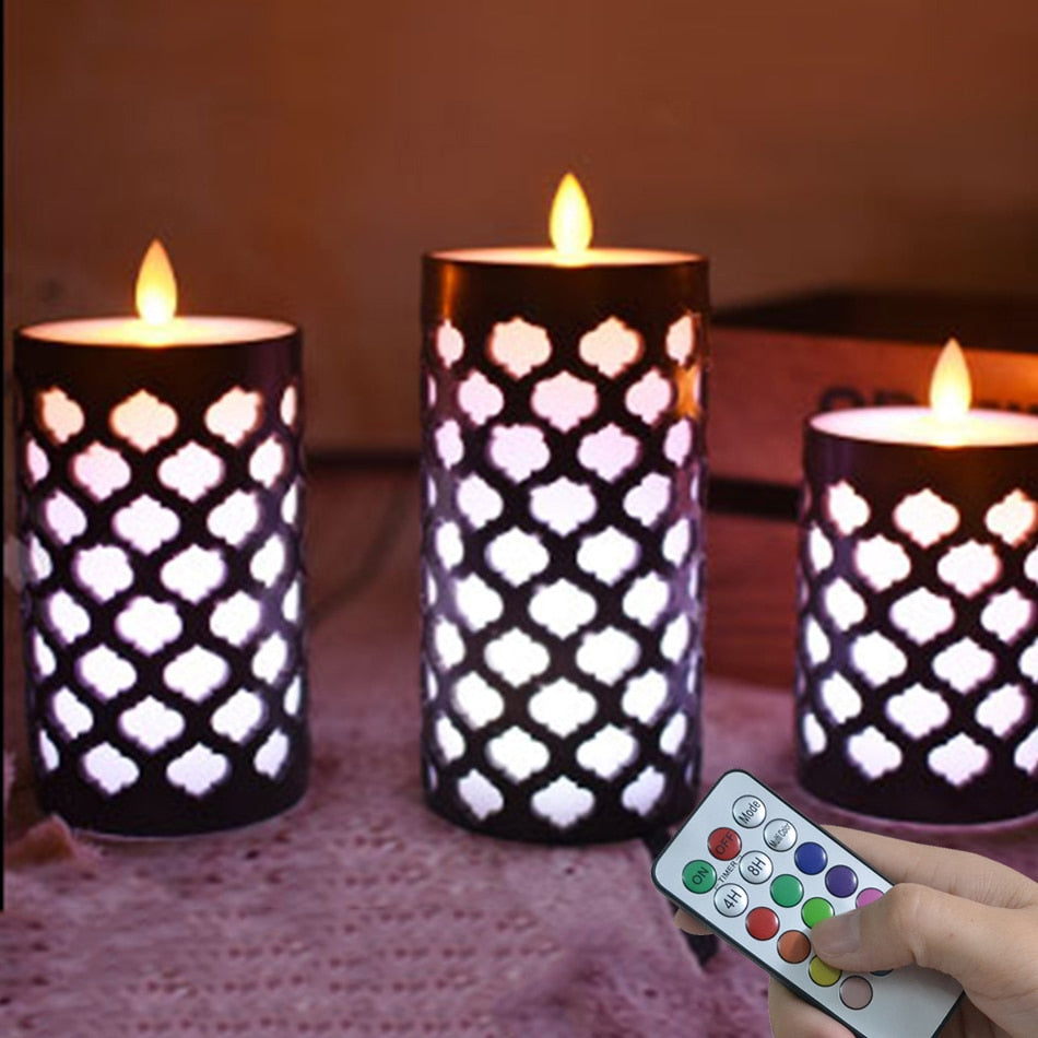 Dancing Flame Pillar Led Wax Candle With RGB Remote,Electronic Candle Night light for kids living room,Christmas light for Home